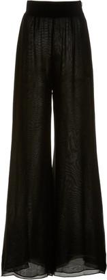 Galvan Tiered Chiffon Wide-Leg Trousers