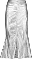 Norma Kamali Metallic coated cotton-blend midi skirt