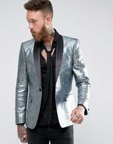 Asos Slim Blazer In Foil Print