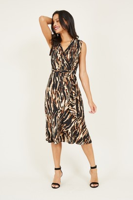 Yumi Brown Animal Wrap Midi Dress