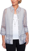 Alfred Dunner Women's Open Cardigans WHITEBLACK - White & Black Semisheer Geometric Floral Necklace-Accent Layered Top - Women, Petite & Plus