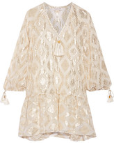 Rachel Zoe Tasseled Metallic Fil Coupé Silk-blend Mini Dress - Ivory