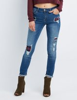 Charlotte Russe Refuge Patchwork Boyfriend Destroyed Jeans