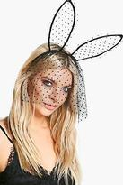 boohoo Womens Eve Halloween Polkadot Ear & Veil Headband in Black size One Size