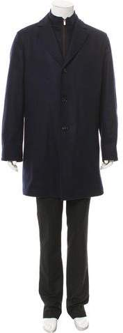 Kiton Suede-Trimmed Cashmere Coat