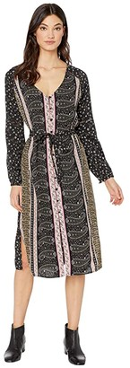 Cupcakes And Cashmere Nollie Boarder Ditsy Crepe Long Sleeve Dress