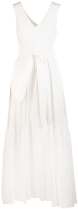 P.A.R.O.S.H. White Canyon Woman Long Dress With V-neck