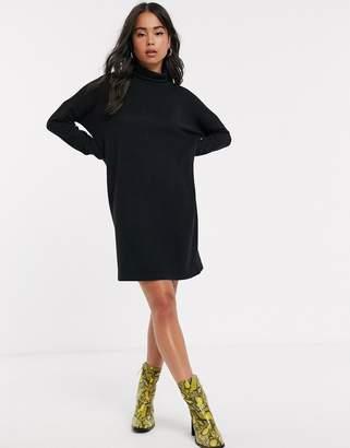 Noisy May roll neck mini knitted jumper dress-Black