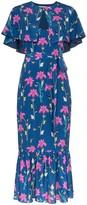 Borgo de Nor blue Margarita crepe floral print cape detail dress