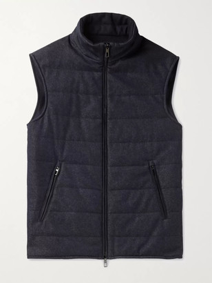 Loro Piana Reversible Storm System Quilted Virgin Wool-Blend Denim and Cashmere Gilet - Men - Blue