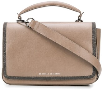 Brunello Cucinelli Stud-Embellished Leather Satchel