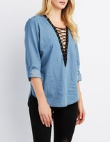 Charlotte Russe Chambray Lace-Up Blouse