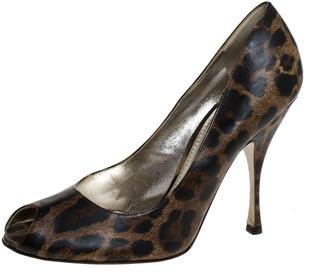 Dolce & Gabbana Brown Leopard Print Leather Peep Toe Platform Pumps Size 40