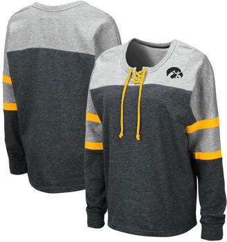 Colosseum Women's Black Iowa Hawkeyes Manolo Lace-Up French Terry Pullover Sweatshirt