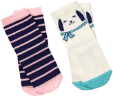 Gymboree Jet Ivory Dog & Pink Stripe Two-Pair Socks Set - Infant & Toddler