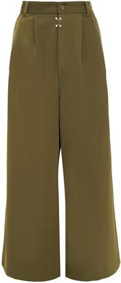 MM6 MAISON MARGIELA Cropped Pleated Stretch-twill Wide-leg Pants