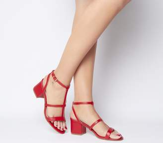 Office Mississippi Caged Block Sandals Red