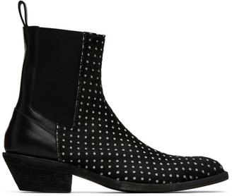 Haider Ackermann Black Polka Dot Elasticated Chelsea Boots