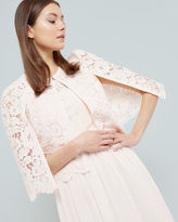 JOHDIYE Lace scalloped hem cape