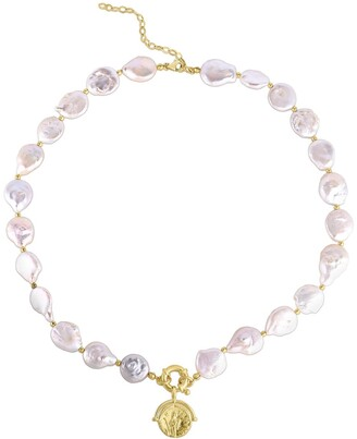 Sphera Milano 14K Yellow Gold Plated Sterling Silver Freshwater Pearl & Coin Pendant Necklace