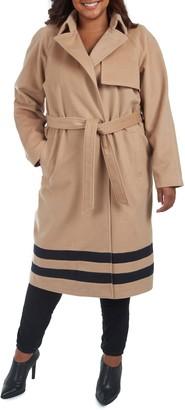 Rachel Roy Belted Stripe Hem Trench Coat