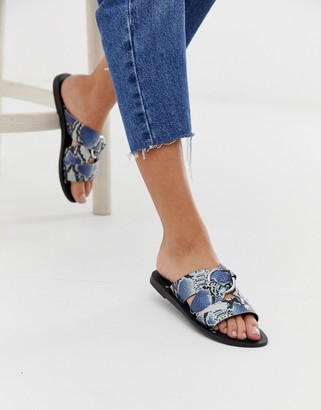 Asos Design DESIGN Frankie leather ring detail flat sandals in snake print