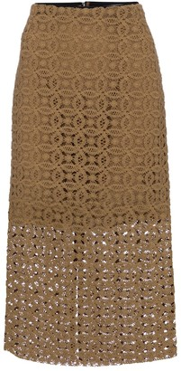 Dorothee Schumacher Bold Statement crochet cotton pencil skirt