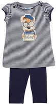 Mayoral Stripe Hug Me Dog T-Shirt w/ Leggings, Size 3-7