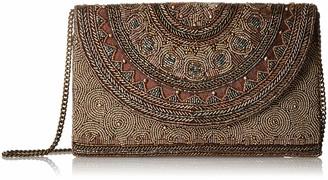 Mary Frances Kismet Bronze Beaded Rounded Flap Crossbody Envelope Clutch Handbag Multi