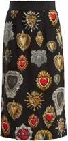 Dolce & Gabbana Heart-print stretch-silk skirt
