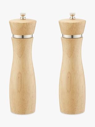 John Lewis & Partners Rubber Wood Tall Salt and Pepper Mills, Natural, Set of 2