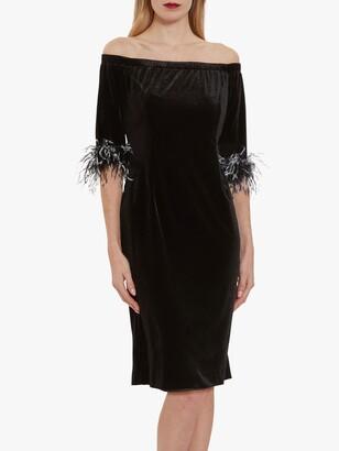 Gina Bacconi Jorelle Velvet Bardot Dress, Black