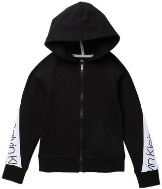 Calvin Klein Logo Bold Zip Hoodie (Big Girls)