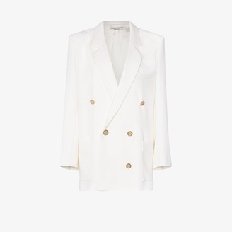 Alessandra Rich Double-Breasted Crystal Button Blazer
