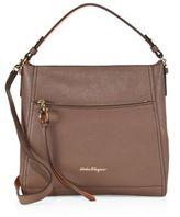 Salvatore Ferragamo Small Ally Two-Tone Leather Hobo Bag