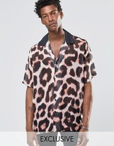 Reclaimed Vintage Revere Shirt In Leopard Print And Reg Fit