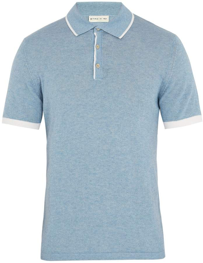Etro Contrast-edge cotton-blend knit polo shirt