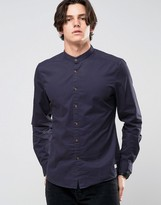 Esprit Grandad Shirt In Slim Fit with Contrast Turnup Sleeves