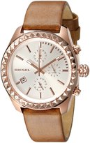 Diesel Dz5488 Women's Kray Kray Chronograph Brown Genuine Leather Silver-Tone Dial Watch