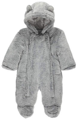 George Grey Faux Fur Hooded Snowsuit