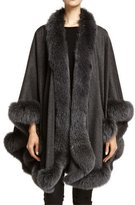 Bergdorf Goodman Cashmere Fox Fur-Trim Cape, Charcoal