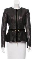 Alexander McQueen Velvet-Trimmed Leather Jacket