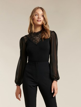 Forever New Cara Lace Splice Crepe Top - Black - l