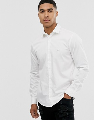 BOSS Mypop slim fit poplin shirt in white