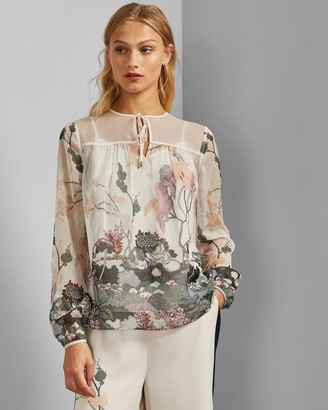 Ted Baker VERIITY Willow gathered tie neck top