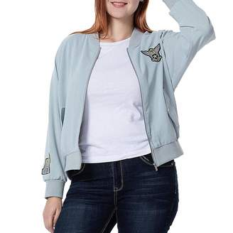 The Plus Project THE PLUS PROJECT Womens Short Bomber Jacket Long Sleeve Baseball Lightweight Oversize Zip Up Bomber Jacket Outerwear SilverGreen 4X-Large