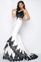 Mac Duggal Black White Red Style 62819R
