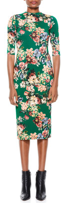 Alice + Olivia Delora High-Neck Fitted Midi Dress