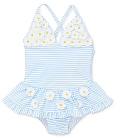 Little Me Girls' Daisy Applique Striped One-Piece Swimsuit - Baby