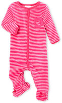Absorba Newborn/Infant Girls) Stripe Velour Footie